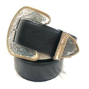Al Beres leather belt with silver plated buckle/30